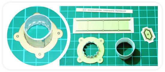Zusammenbau Arbeitszylinder Pappkarton Heissluftmotor
